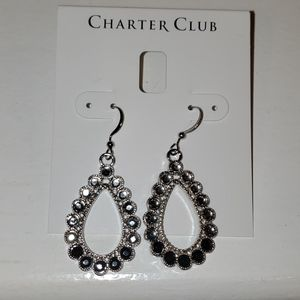 New Charter Club Silver-Tone Crystal Earrings